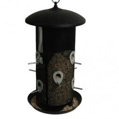 Fuglefoderautomat til frø rund Ø23,50H45 sort metal